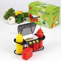 Set Condimenti Barbeque - Dispenser Salse Ketchup Maionese Sale Pepe BBQ Griglia
