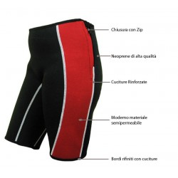 Pantaloncini neoprene nero/rosso - slimming shorts red/black