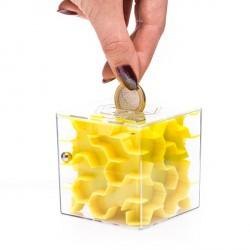 Salvadanaio Mini Labirinto giallo - Mini money maze - yellow