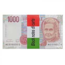 Block Notes con 100 fogli a righe, Banconota 1000 Lire