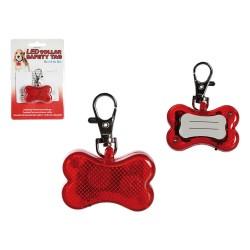 Ciondolo di sicurezza per collare, Ossa, con 2 LED & moschettone ca. 6 x 4,5 cm