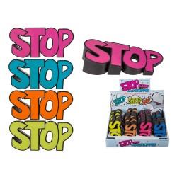 Fermaporte in plastica, STOP - ca 12 cm, 4 colori assortiti