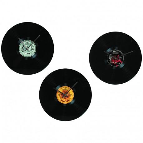 Orologio da parete in vetro, Disco LP vinile, D: ca. 35 cm,  3 colori assortiti
