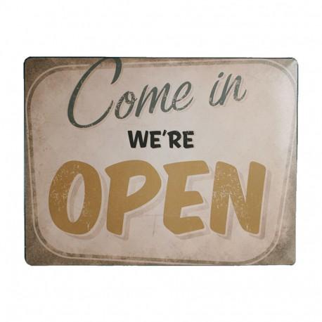 "Targa in metallo, Nostalgia ""Come in We're open"", ca. 40 x 30 cm"