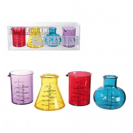 Bicchierini shooter, Chemistry, per ca. 50 ml, A: ca. 5 cm, set da 4 - ampolle chimica
