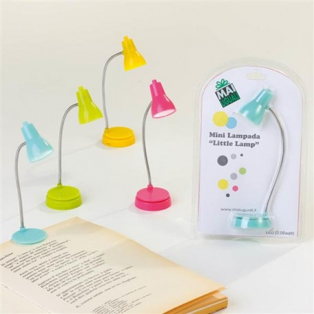 "MINI LAMPADA LED ""LITTLE LAMP"" DA LIBRO O DA TAVOLO, BATTERIE 2 X CR1220 INCLUSE - 4 colori assortiti"
