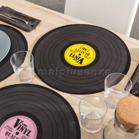 """Tovaglietta da tavola in polipropilene, """"Disco LP vinile"""", D. ca. 39 cm 4 colori assortiti"""