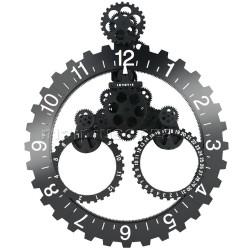 "Orologio design ""Maxi Ingranaggi"" Nero/Bianco 65x55cm"